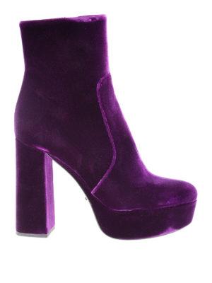 Prada: ankle boots - Velvet platform ankle boots