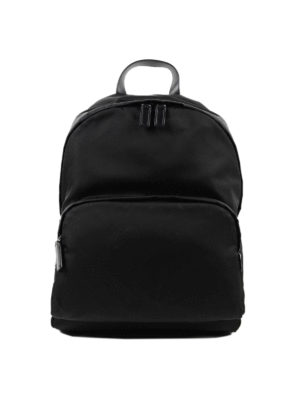 Prada: backpacks - Fabric backpack with leather trims