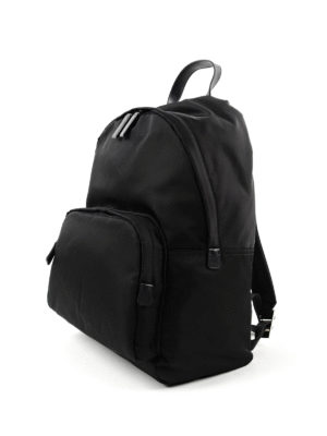Prada: backpacks online - Fabric backpack with leather trims