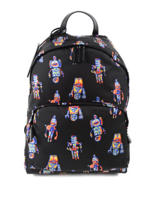 Prada: backpacks - Robot print nylon backpack