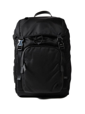 Prada: backpacks - Saffiano logo patch nylon backpack