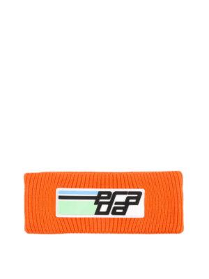 PRADA: berretti - Berretto arancio in lana con logo