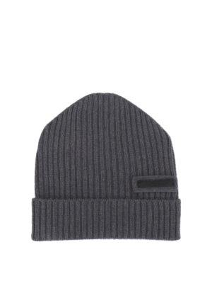 Prada: beanies - Rib knitted cashmere beanie