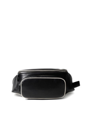 Prada: belt bags - Leather belt bag with white piping