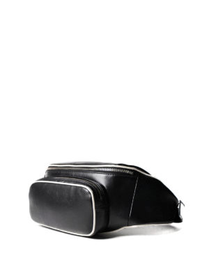 Prada: belt bags online - Leather belt bag with white piping