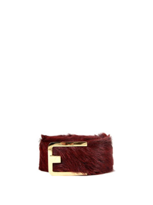 Prada: belts - Calf hair belt with logo buckle