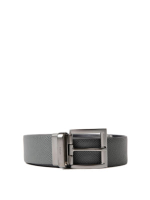 Prada: belts - Embossed leather reversible belt