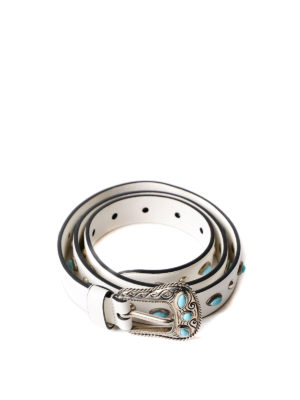 Prada: belts - Leather belt with turquoise stones