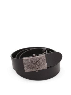 Prada: belts - Metal logo buckle leather belt
