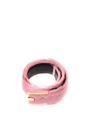 Prada: belts online - Calf hair belt with logo buckle