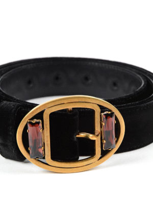 Prada: belts online - EMBELLISHED BUCKLE VELVET BELT