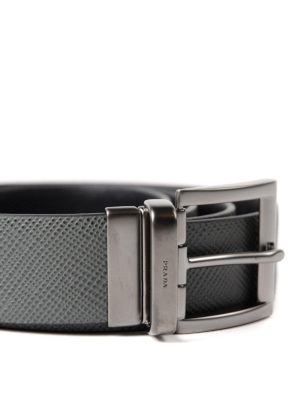 Prada: belts online - Embossed leather reversible belt