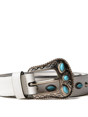 Prada: belts online - Leather belt with turquoise stones