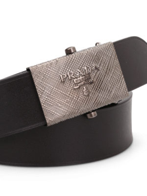Prada: belts online - Metal logo buckle leather belt