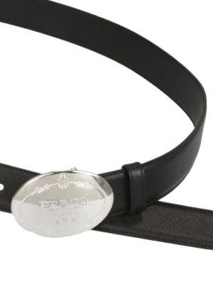 Prada: belts online - Plaque saffiano leather belt