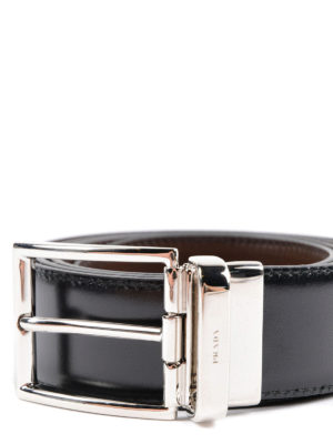 Prada: belts online - Reversible leather belt