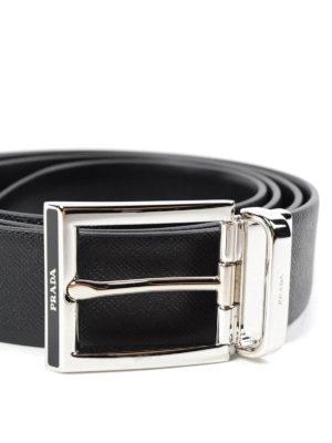 Prada: belts online - SAFFIANO LEATHER BUCKLED BELT