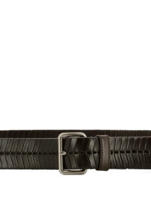 Prada: belts online - Woven leather buckled belt
