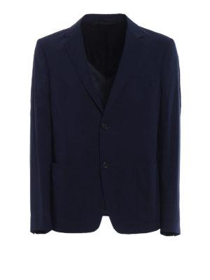Prada: blazers - Navy poplin cotton blend blazer
