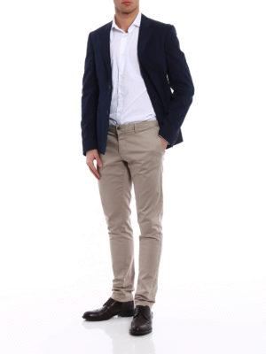 Prada: blazers online - Navy poplin cotton blend blazer
