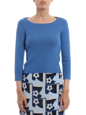 Prada: boat necks online - Ribbed wool and silk blend sweater