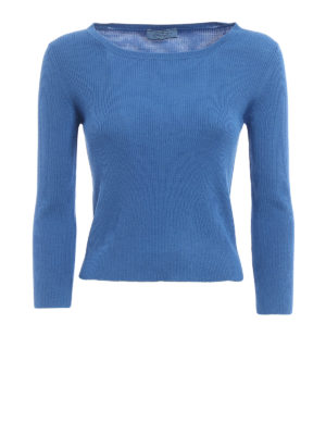 Prada: boat necks - Ribbed wool and silk blend sweater
