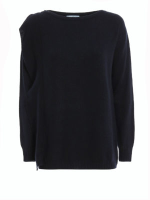 Prada: boat necks - Wool and cashmere frilled sweater