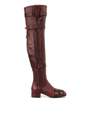 Prada: boots - Buckled soft leather boots