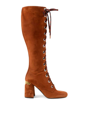 Prada: boots - Lace-up suede boots