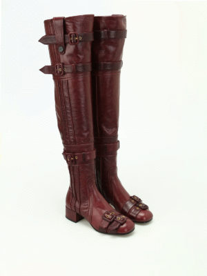 Prada: boots online - Buckled soft leather boots