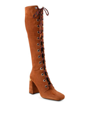 Prada: boots online - Lace-up suede boots