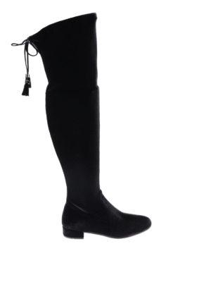Prada: boots - Stretch velvet cuissardes