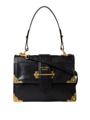 Prada: bowling bags - Cahier black leather satchel