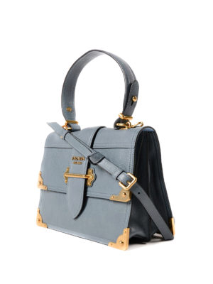 Prada: bowling bags online - Cahier leather satchel