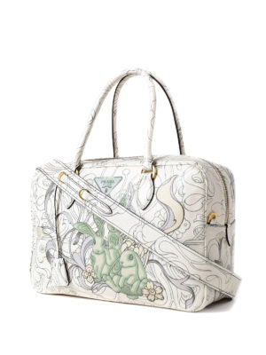 Prada: bowling bags online - Multicolour print leather handbag