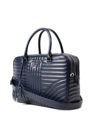 Prada: bowling bags online - Quilted leather handbag