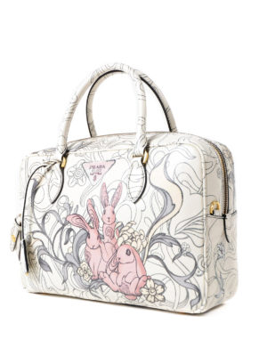 Prada: bowling bags online - Rabbit print calf leather handbag