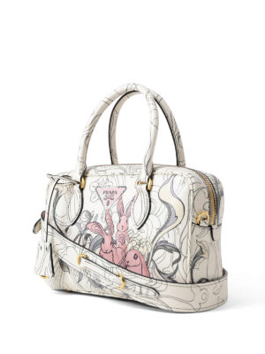 Prada: bowling bags online - Rabbit print leather small handbag