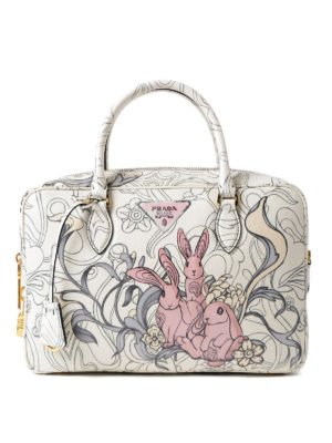Prada: bowling bags - Rabbit print calf leather handbag