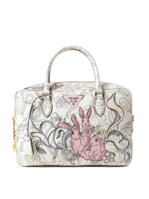 Prada: bowling bags - Rabbit print leather bowling bag