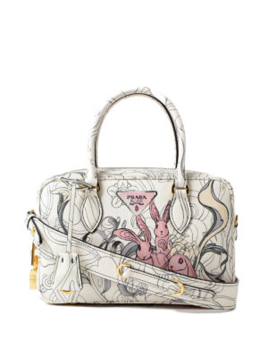 Prada: bowling bags - Rabbit print leather small handbag