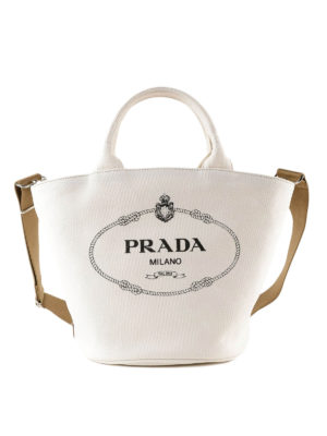a64c5ba813e1 PRADA  Secchielli - Borsa secchiello bianca in cotone con logo