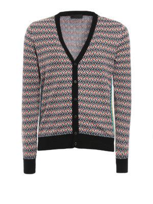 Prada: cardigans - Argyle pattern ribbed cardigan