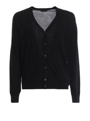 PRADA: cardigan - Cardigan leggero nero in lana pettinata