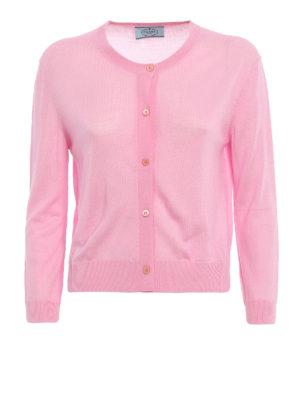 Prada: cardigans - Combed wool crop cardigan