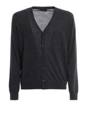 PRADA: cardigan - Cardigan leggero antracite in lana pettinata