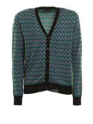 Prada: cardigans - Geometric pattern jacquard cardigan
