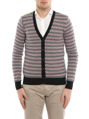 Prada: cardigans online - Argyle pattern ribbed cardigan