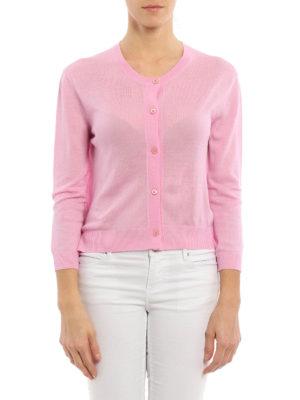 Prada: cardigans online - Combed wool crop cardigan