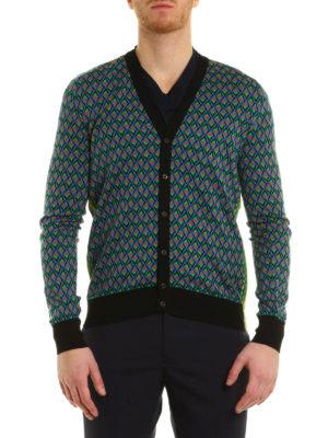 Prada: cardigans online - Geometric pattern jacquard cardigan